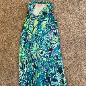 Lilly Pulitzer cowl neck dress blue green xs